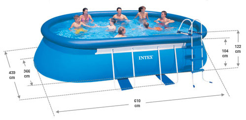 intex oval frame pool 610x366 x122 cm. Black Bedroom Furniture Sets. Home Design Ideas